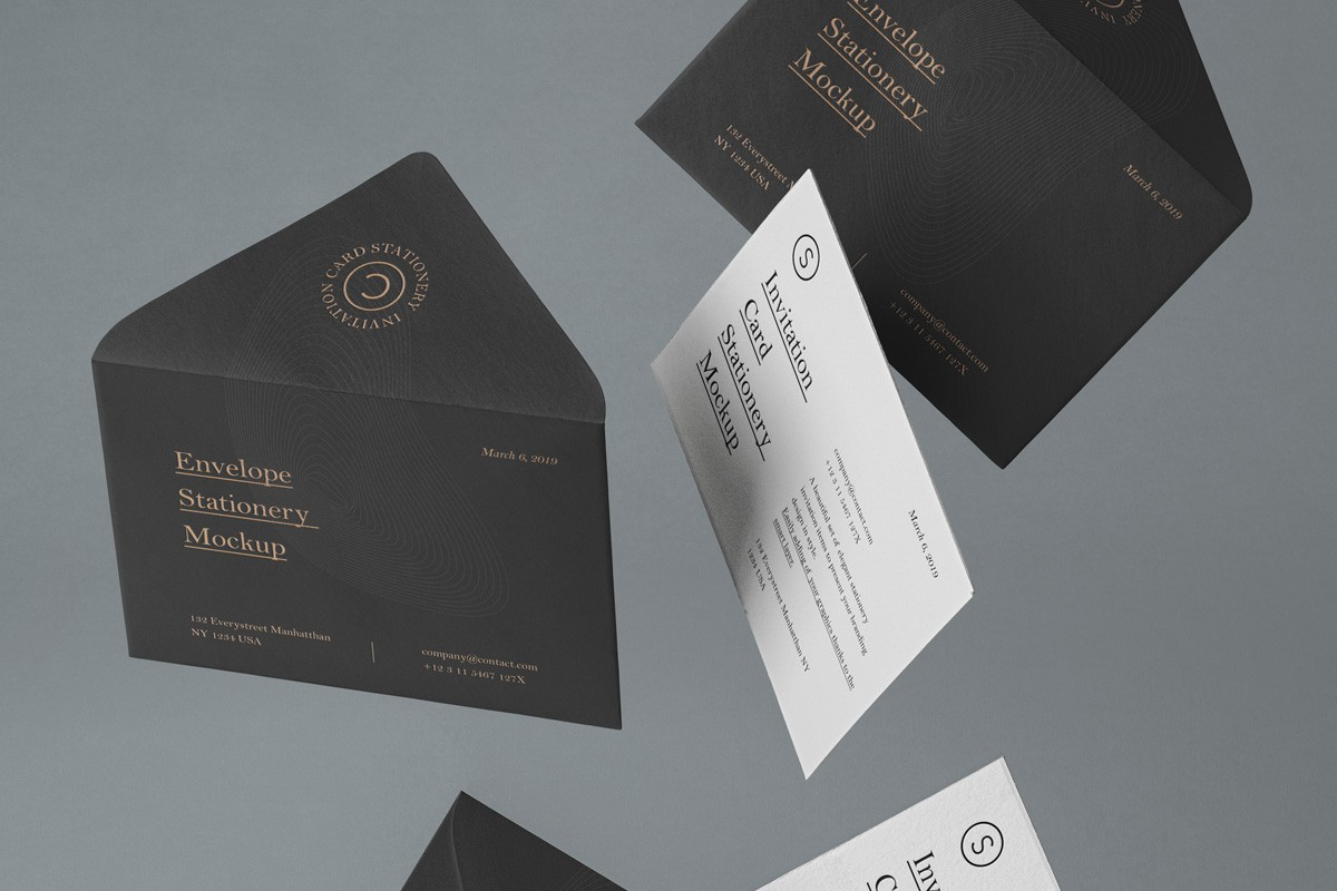 Invitation Cards And Envelopes Mockup Mckups