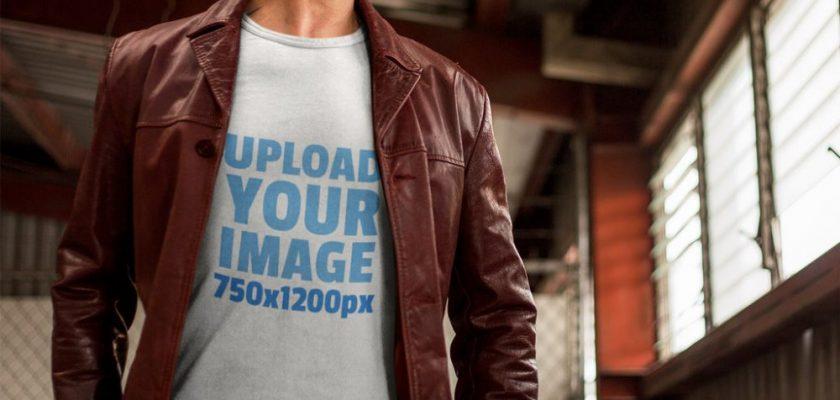 Mature Man Wearing a T-Shirt Mockup in an Urban Setting