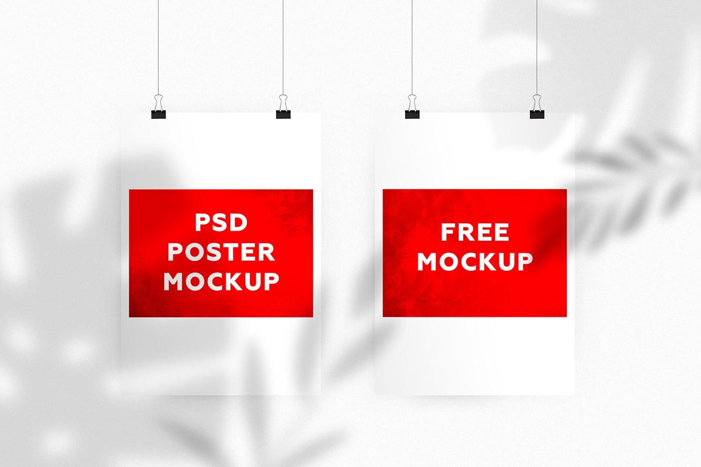 Free Psd Shadow Poster Mockup Free Mockup Download