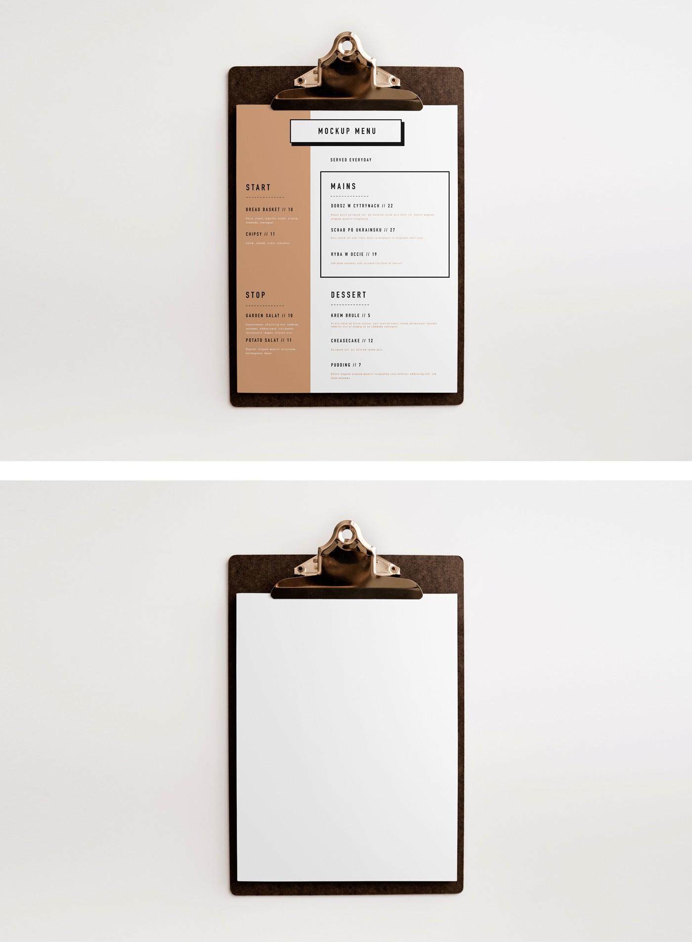 Clipboard Menu Mockups Set