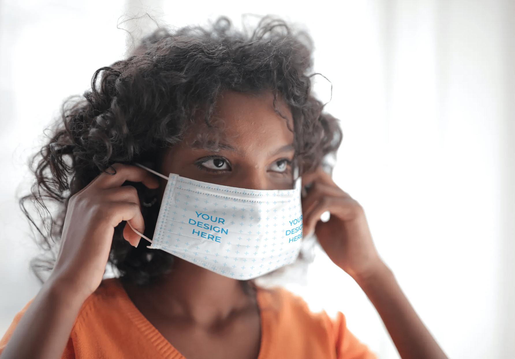 African-American Woman Wearing a Face Mask Free Mockup Generator