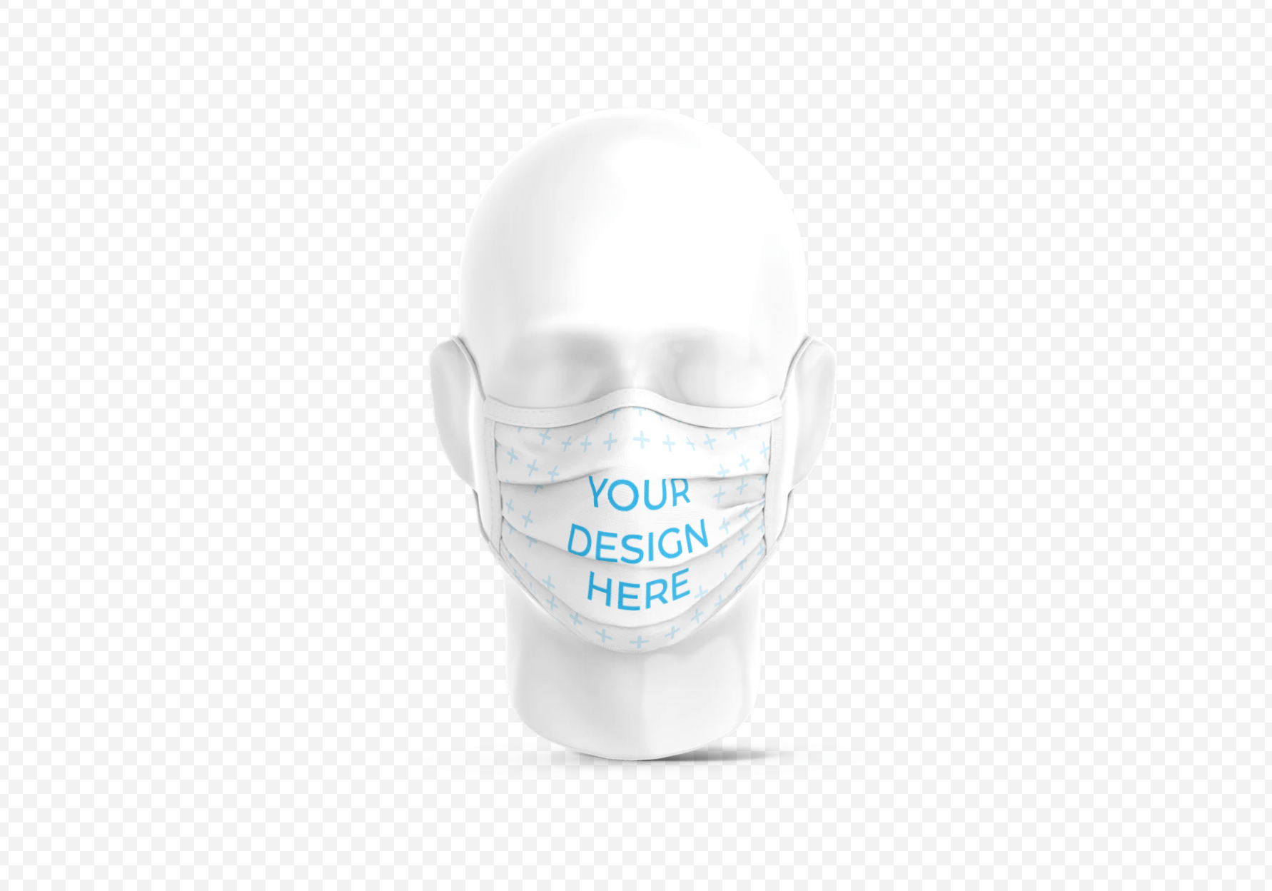 Surgical Mask on Plastic Head Mockup