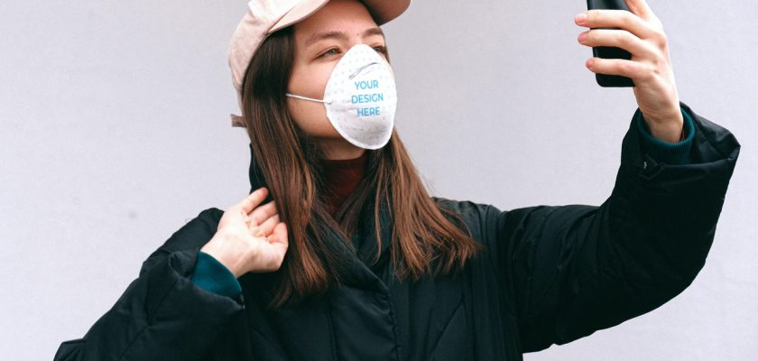 Woman Wearing a Face Mask Outdoors Mockup