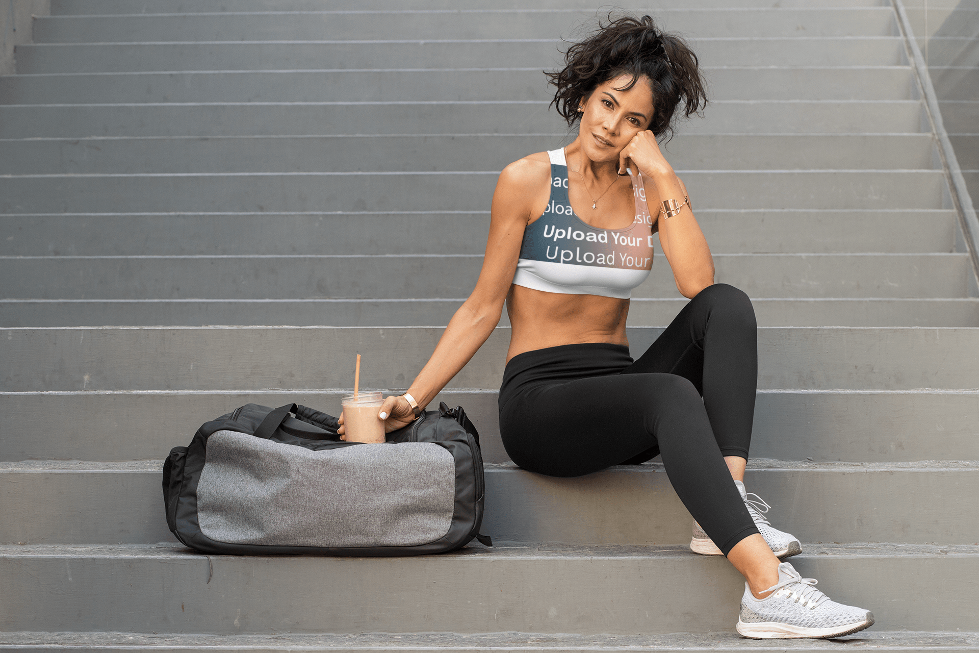 Sports bra Mockup with a fit woman near the staircase