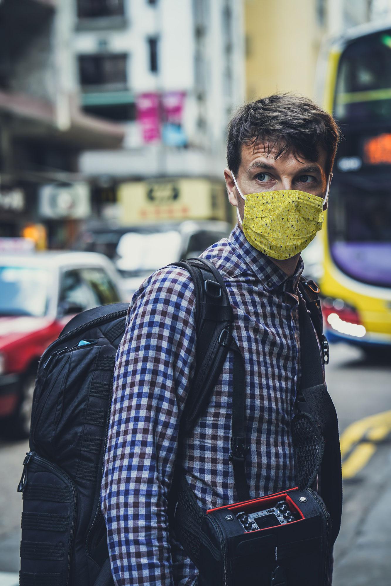 man in face mask mockup