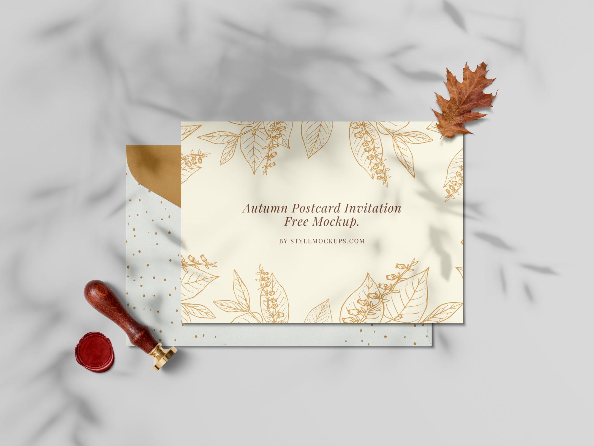 Free Autumn Postcard Invitation Mockup