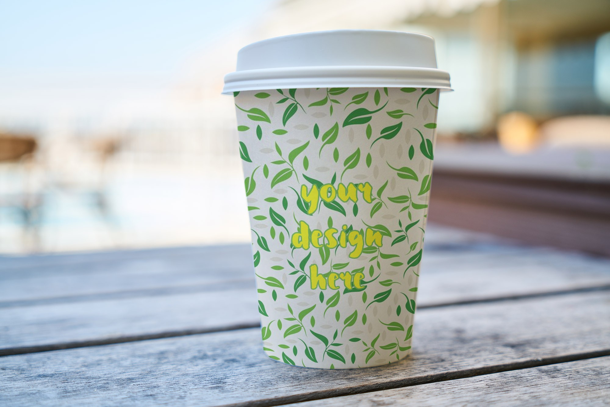 Paper Coffee Cup with Plastic Lid Mockup