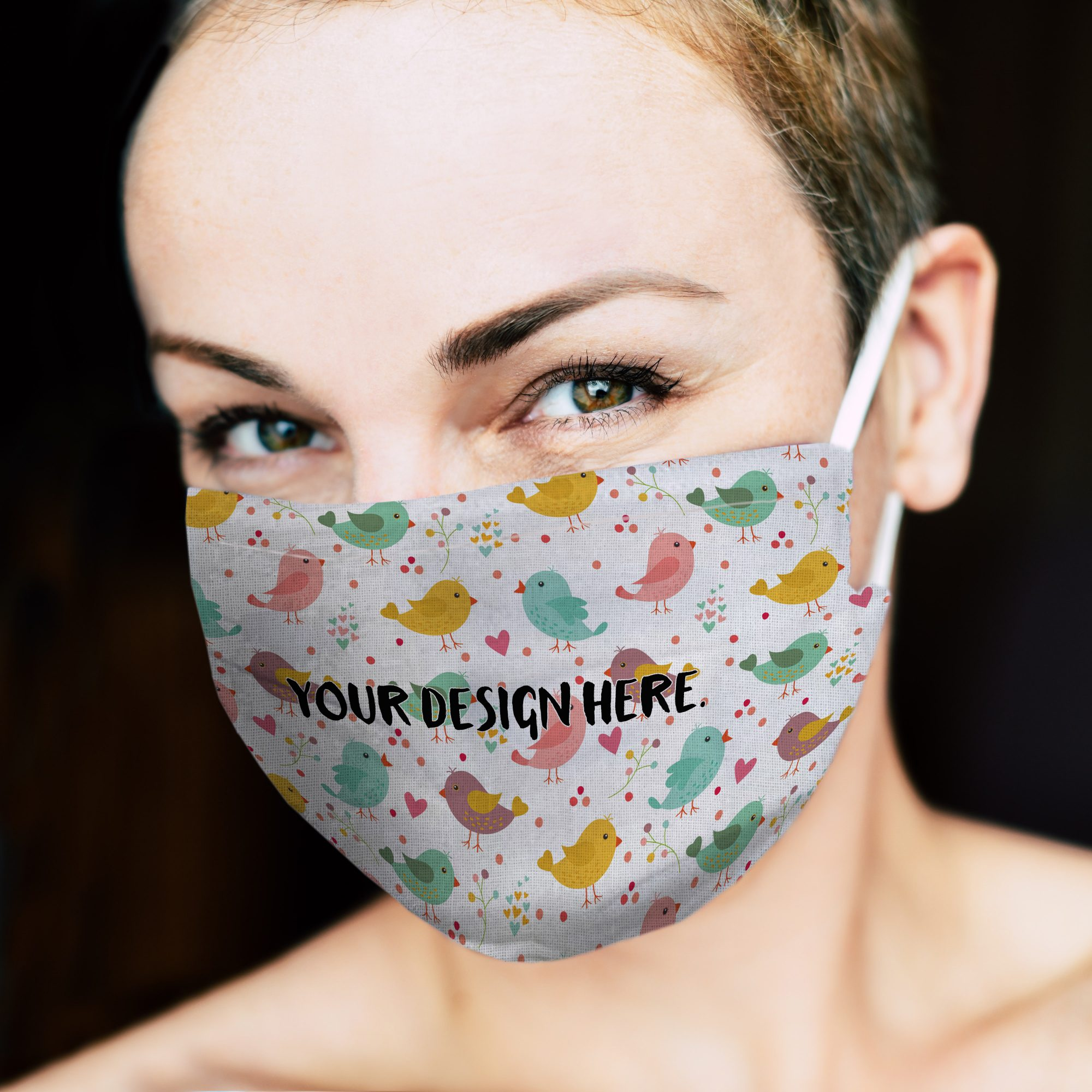 Smiling Woman in Face Mask Mockup