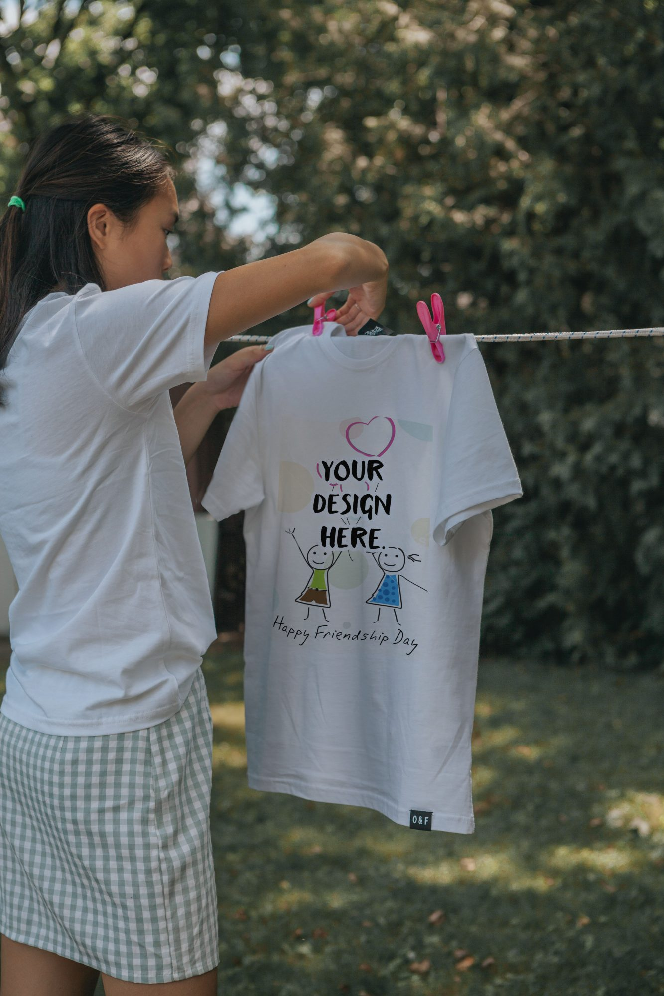 T-shirt Dries on a Rope Free Mockup