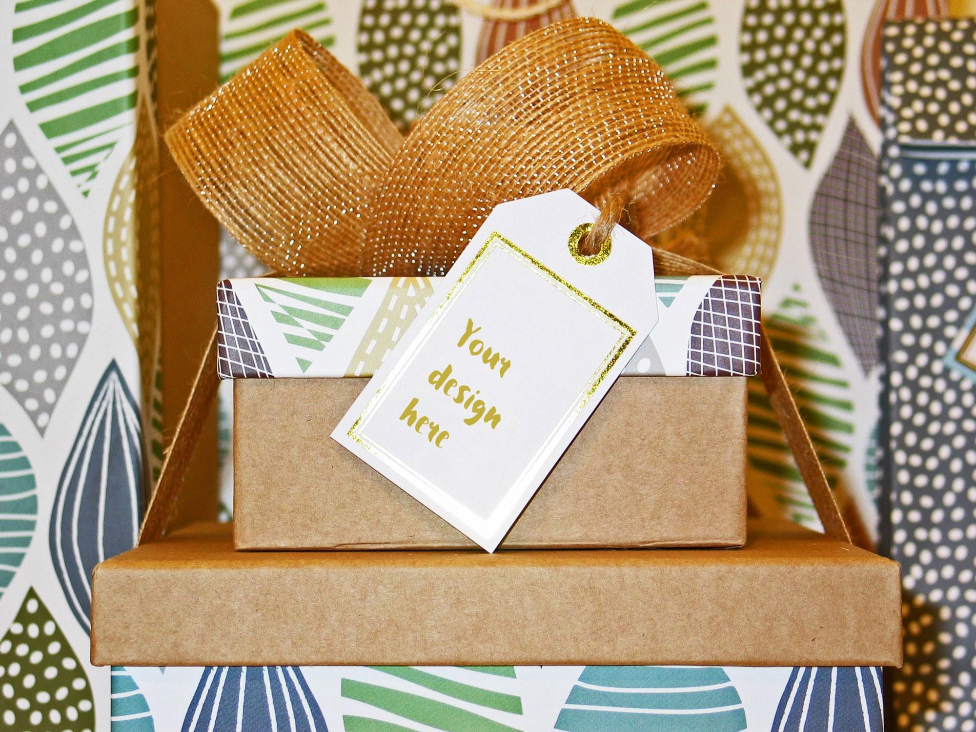 Gift Bow Box Card Mockup