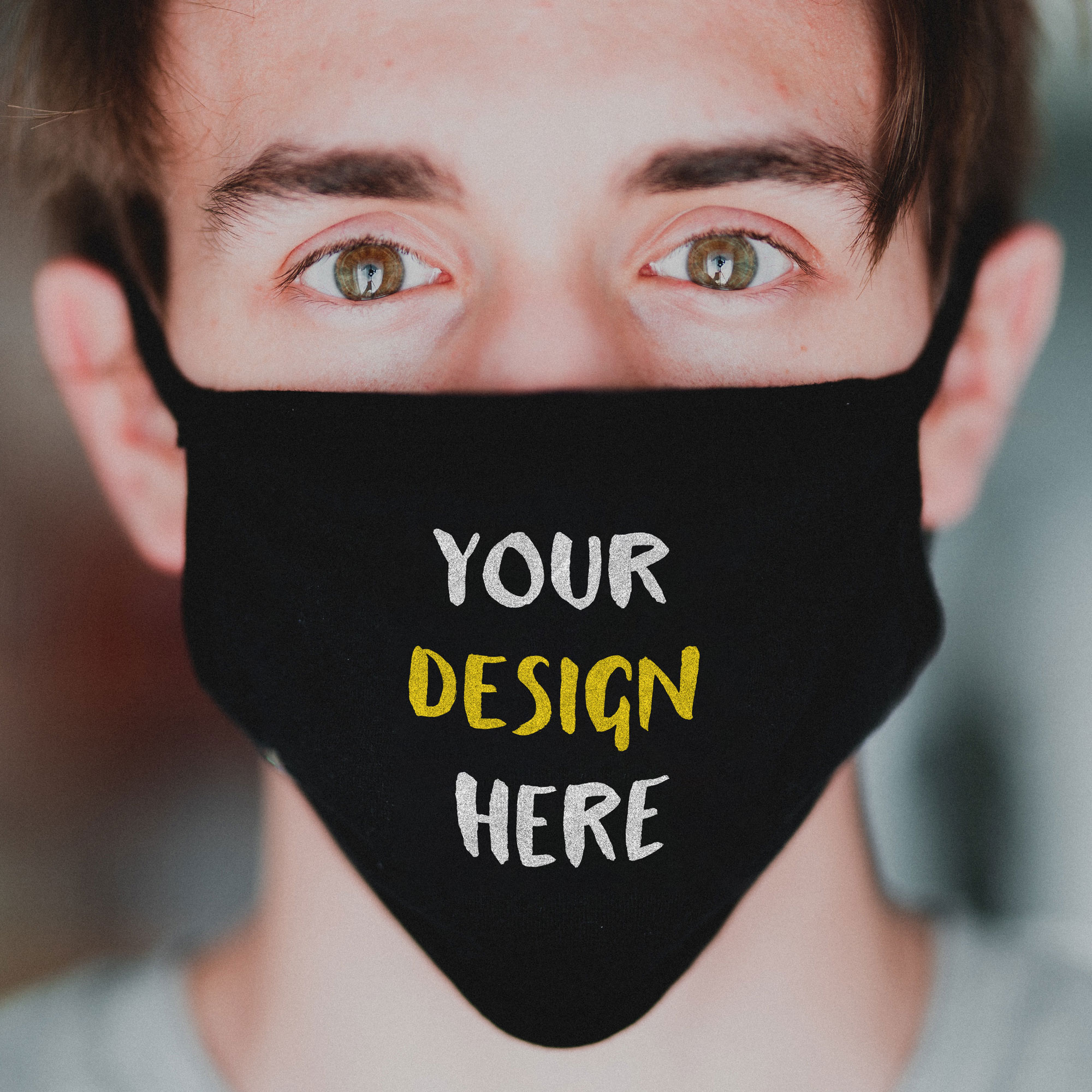 Mask on Young Guy's Face Mockup