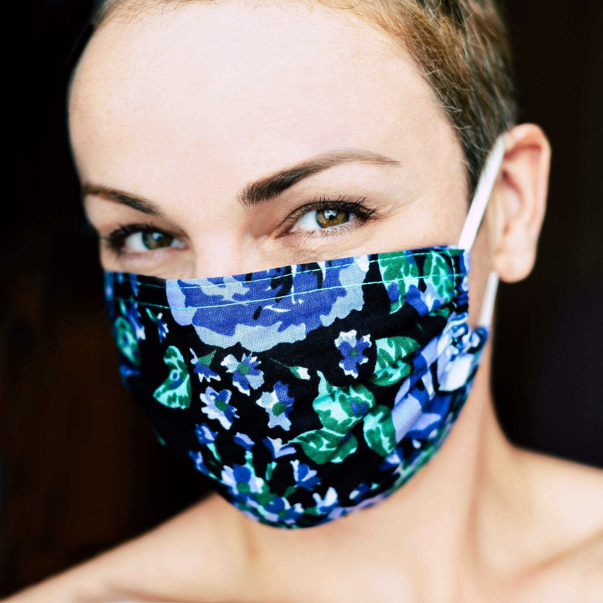 Smiling Woman in Face Mask Mockup Download