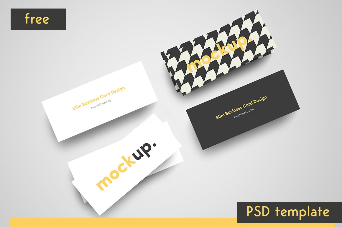 Slim Business Card Mockup