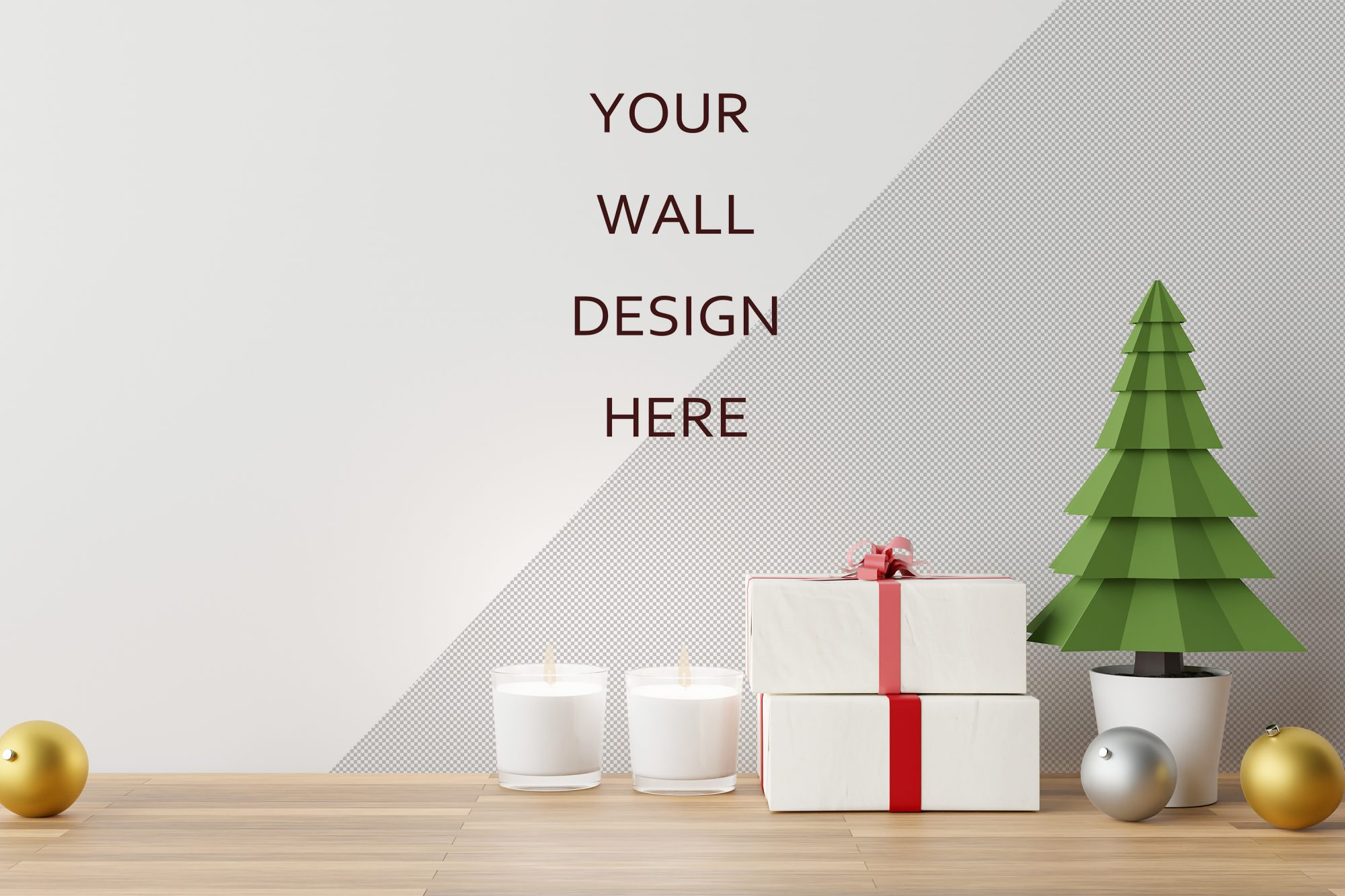 Wall Art Mockup with a Christmas Scene