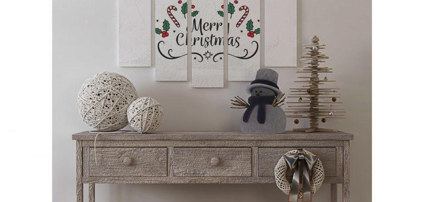 Poster Mockup in Christmas Livingroom