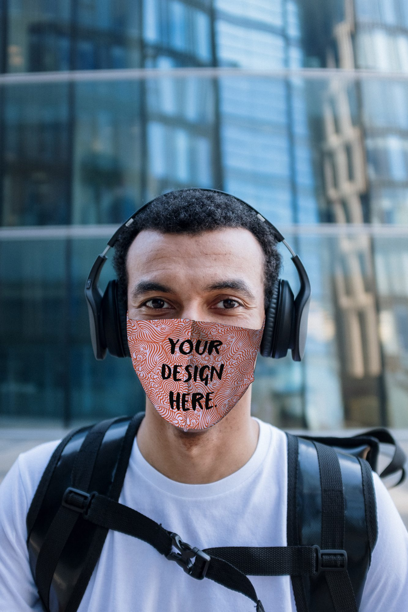 Face Mask Mockup on a Guy with Headphones