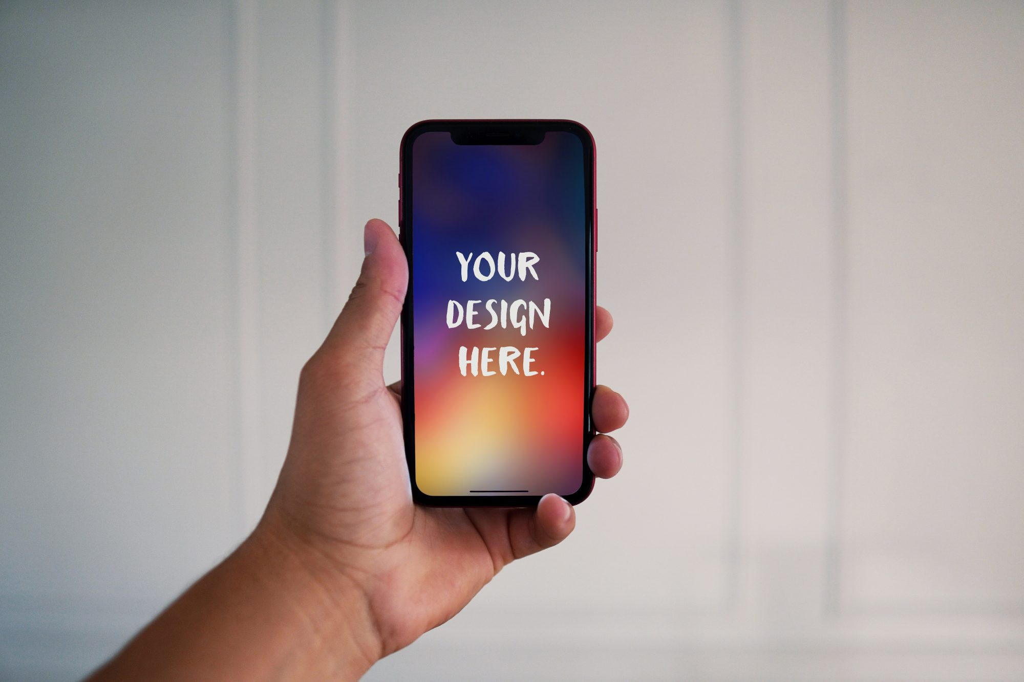 iPhone mockup in hand free