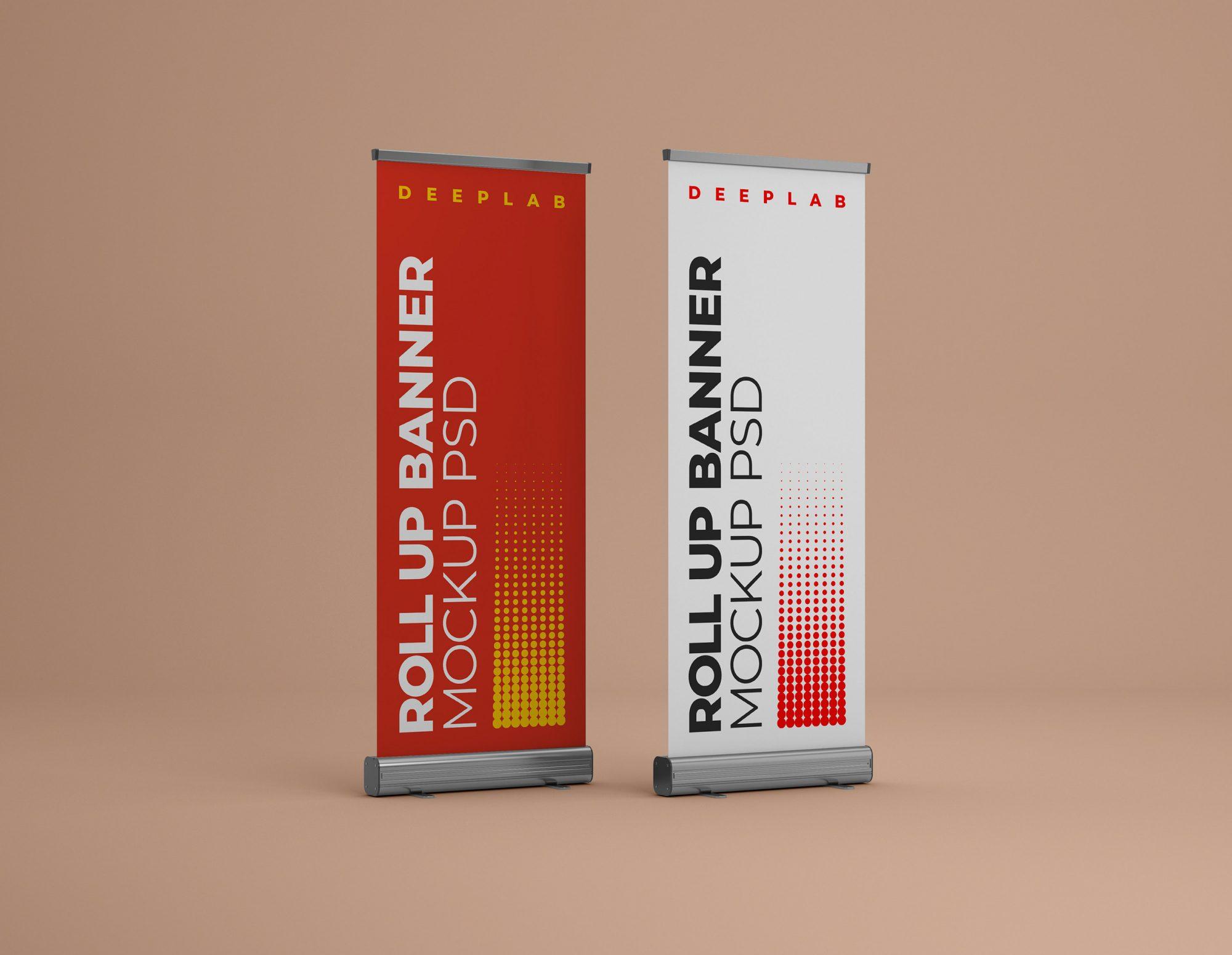 Roll Up Banner Mockup Set