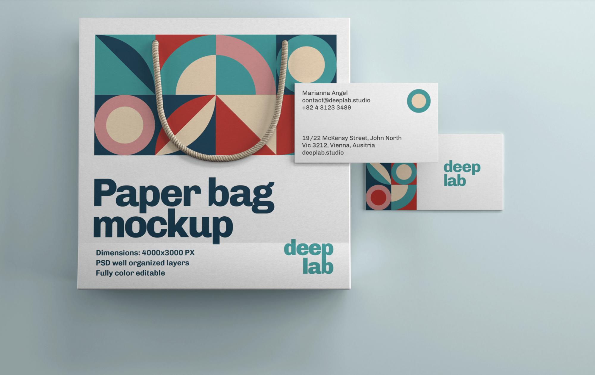 Paper Bag & Business Card Mockup Set