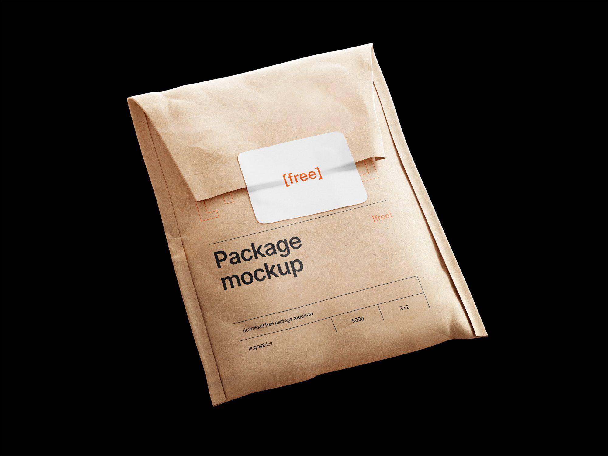 free paper bag envelope mockup